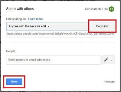 Google Doc Copy Link