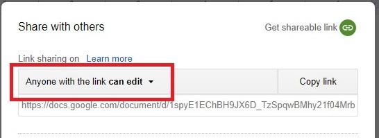 Google Doc Sharing Permission