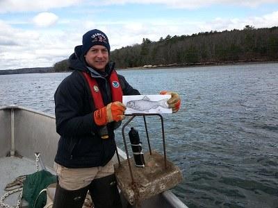 Graham Goulette (NOAA fisheries) in the Damariscott Estuary.