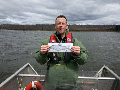 Jim Hawkes (NOAA Fisheries) in th emiddle of Medomak Estuary